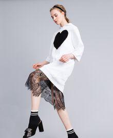 Abito in cotone con cuore flock Bianco Donna PA82CG-0T