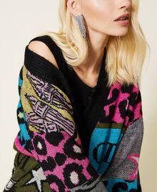 Jacquard wool blend cardigan Purple Berry Picture Jacquard Mix Woman 212AP3132-04