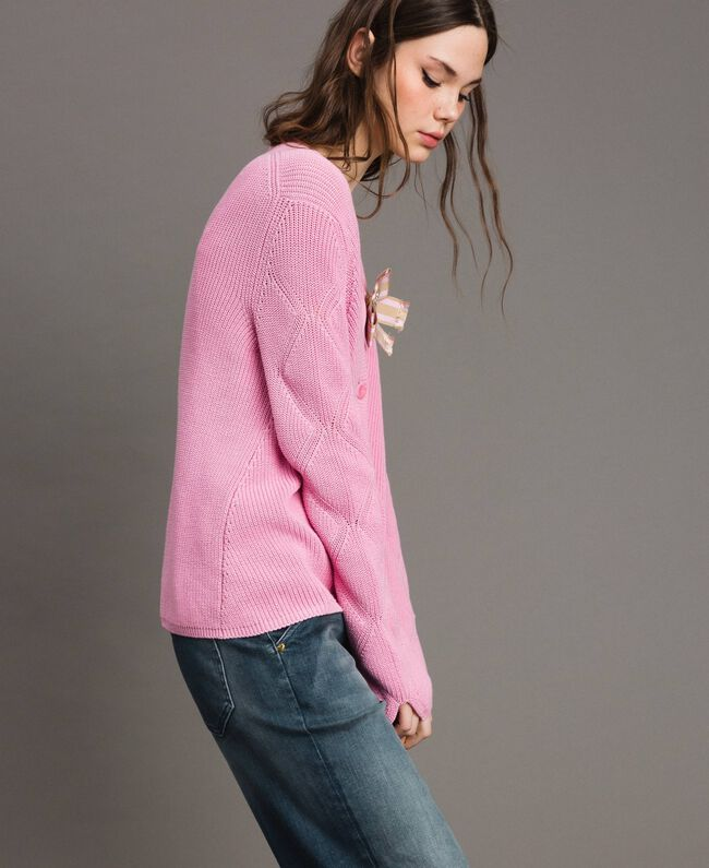 Cotton cardigan with brooch Hydrangea Pink Woman 191MP3092-03