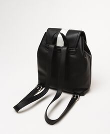 "Faux leather backpack with tuck closure Bicolour Black / ""Ice"" White Woman 201MO8071-04"