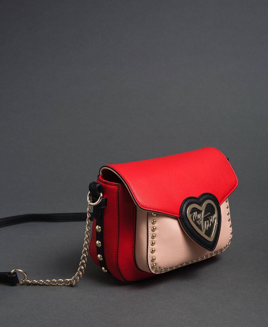 Sac à bandoulière en similicuir bicolore avec clous Rouge Coquelicot / Rose Pâle Femme 192MA7103-01