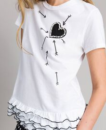 T-shirt with print and flounce White Cream Woman 191MP206D-01