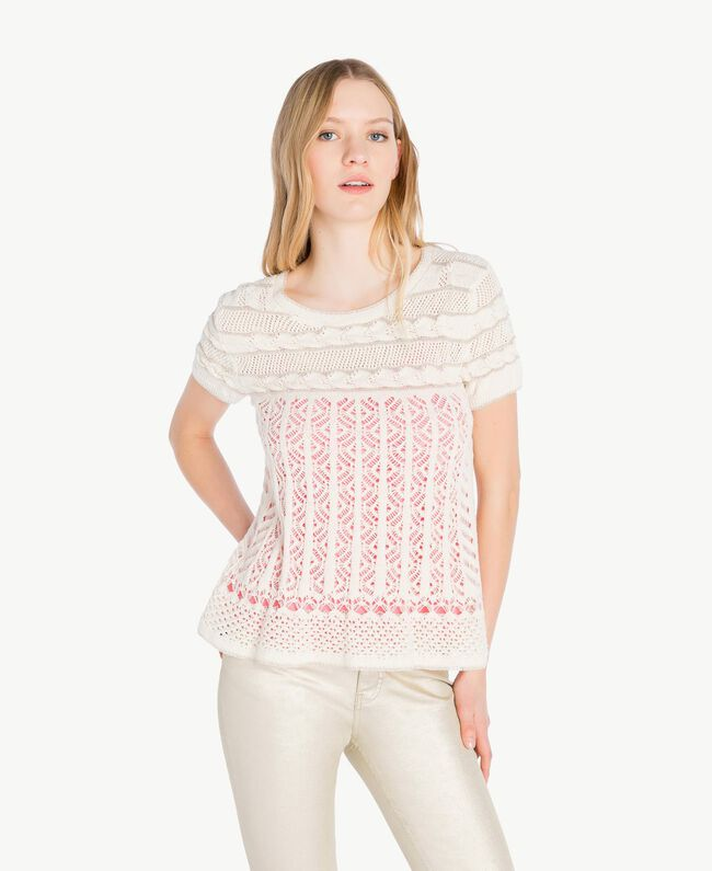 Openwork lurex jumper Pale Ecru Woman PS836C-01