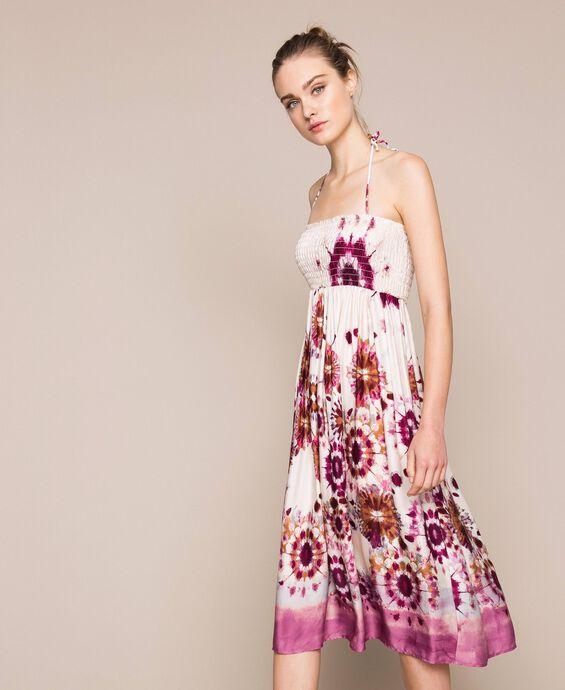 Printed satin skirt-dress