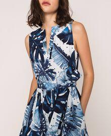 Длинное платье из набивного поплина Принт Тропический Горошек Синий / Виши женщина 201TP2552-04