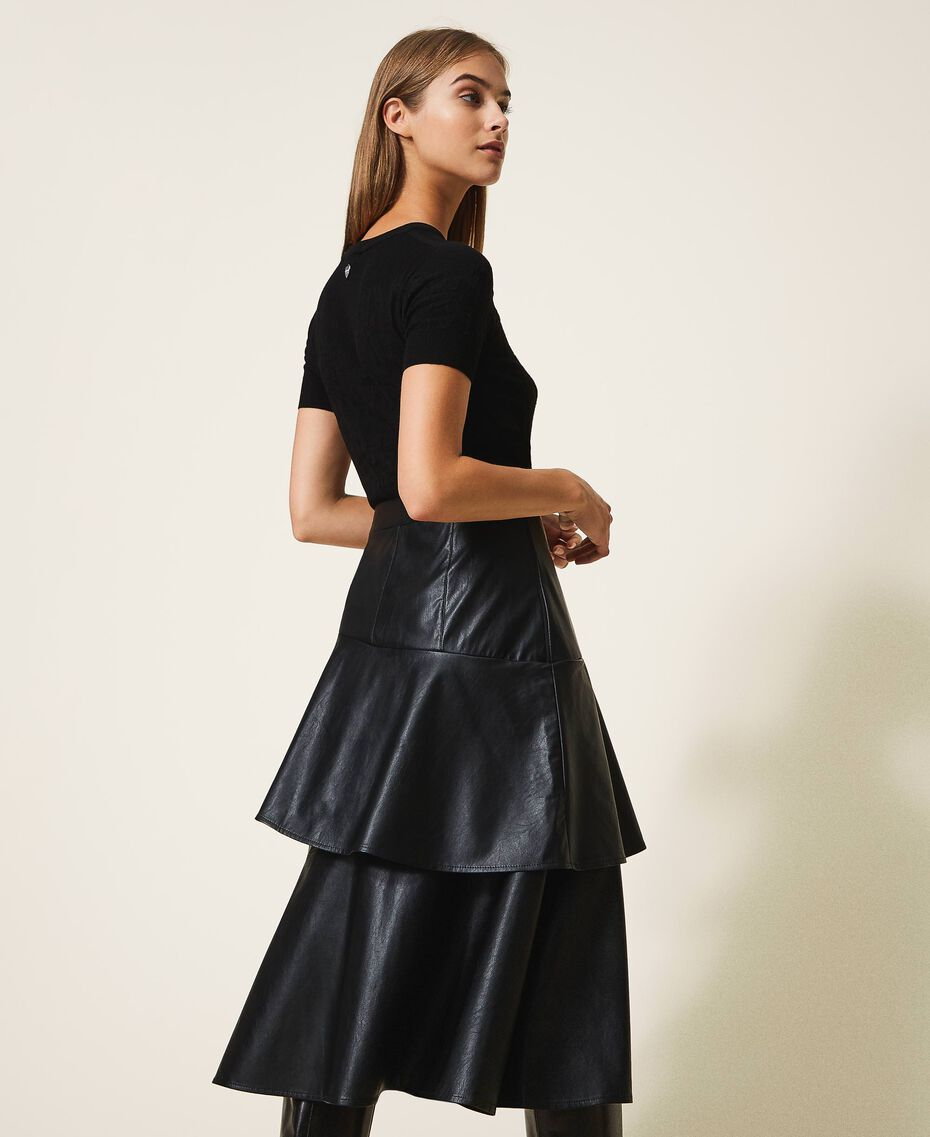 Faux leather midi skirt with flounce Black Woman 202ST2016-03
