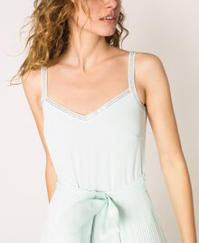 Pleated georgette jumpsuit with embroidery Antique White Woman 201TT2091-05