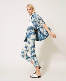 Pantalon taille haute tie & dye Tie Dye Blanc «Neige» / Bleu Femme 211TT2542-02