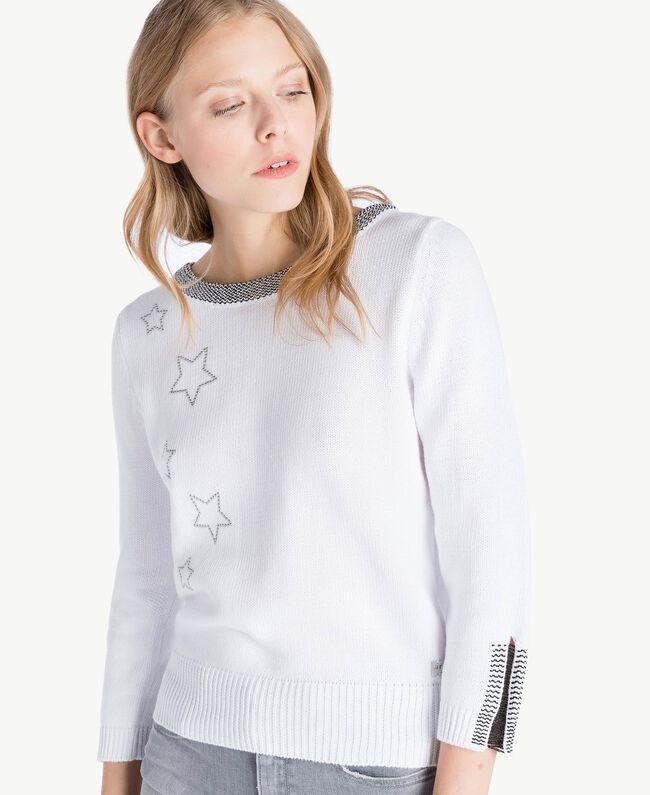 Pullover mit Sternen Zweifarbig Optisches Weiß / Schwarzer Lurex Frau JS83JA-04