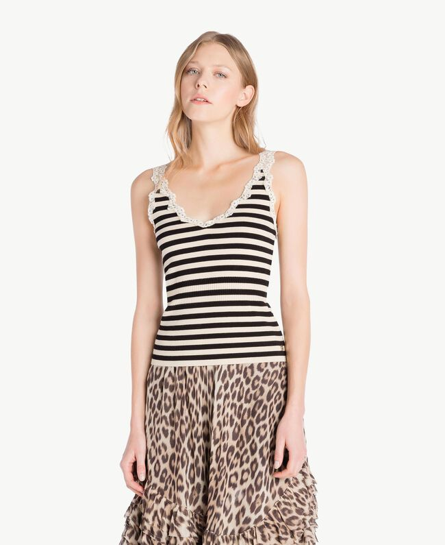 Striped tank top Black / Ecru Stripes Woman PS8396-01