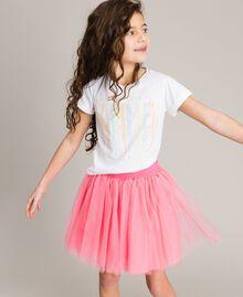 T-shirt en coton avec strass multicolores Blanc Enfant 191GJ2770-0S