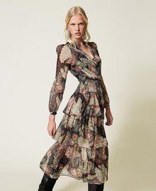 Maxikleid aus Krepon mit Blumendessin Print Indian Flower Schwarz Frau 212TP2640-04