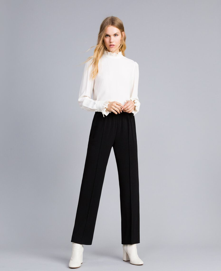 Envers satin palazzo trousers Black Woman TA824A-05