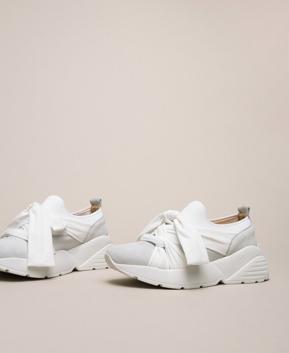Fabric sneakers with knot White Woman 201TCT110-03