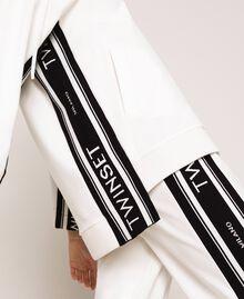Maxi sweatshirt with jacquard logo Ivory Woman 201TP2070-05