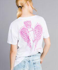 Unisex-T-Shirt für Erwachsene aus Baumwolle mit Print Weiß Frau QA8TMN-03