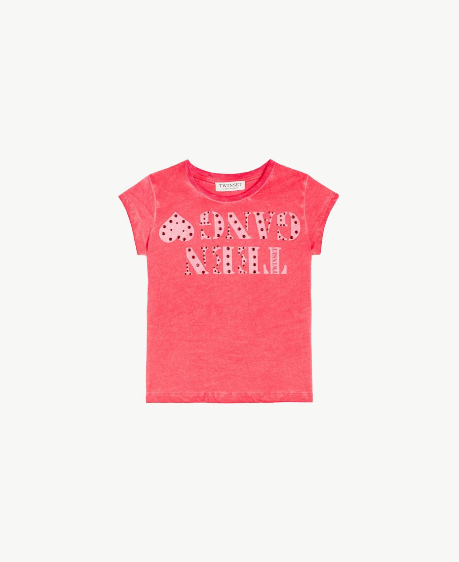 Printed T-shirt Two-tone Pomegranate Red / Bud Pink Child GS821A-01