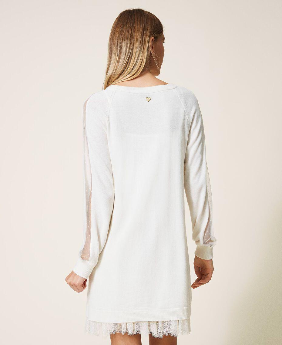 Vestido de lana mixta con combinación White Nieve Mujer 202TT3132-03