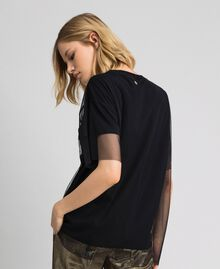 T-shirt doublé en tulle avec applications et broderies Noir Femme 192MP2454-04