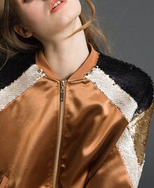 "Satin bomber jacket with sequins ""Camel Skin"" Beige Woman 192LI2RAA-05"