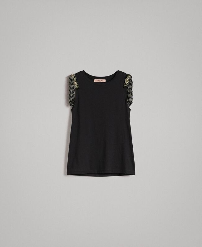 Tank top with sequin and bead embroidery Black Woman 191TT2350-0S