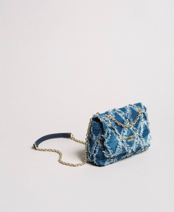Borsa a tracolla in jeans effetto patchwork
