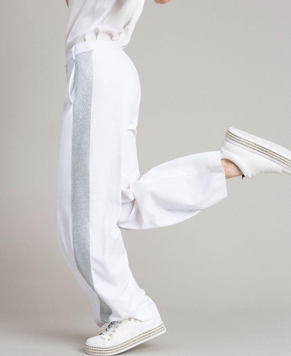 Pantaloni palazzo con bande lurex Bianco Donna 191LL25BB-05