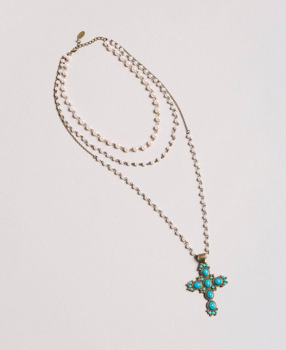 Rosario con perle e croce pendente Tile Blue Donna 191TO534G-02