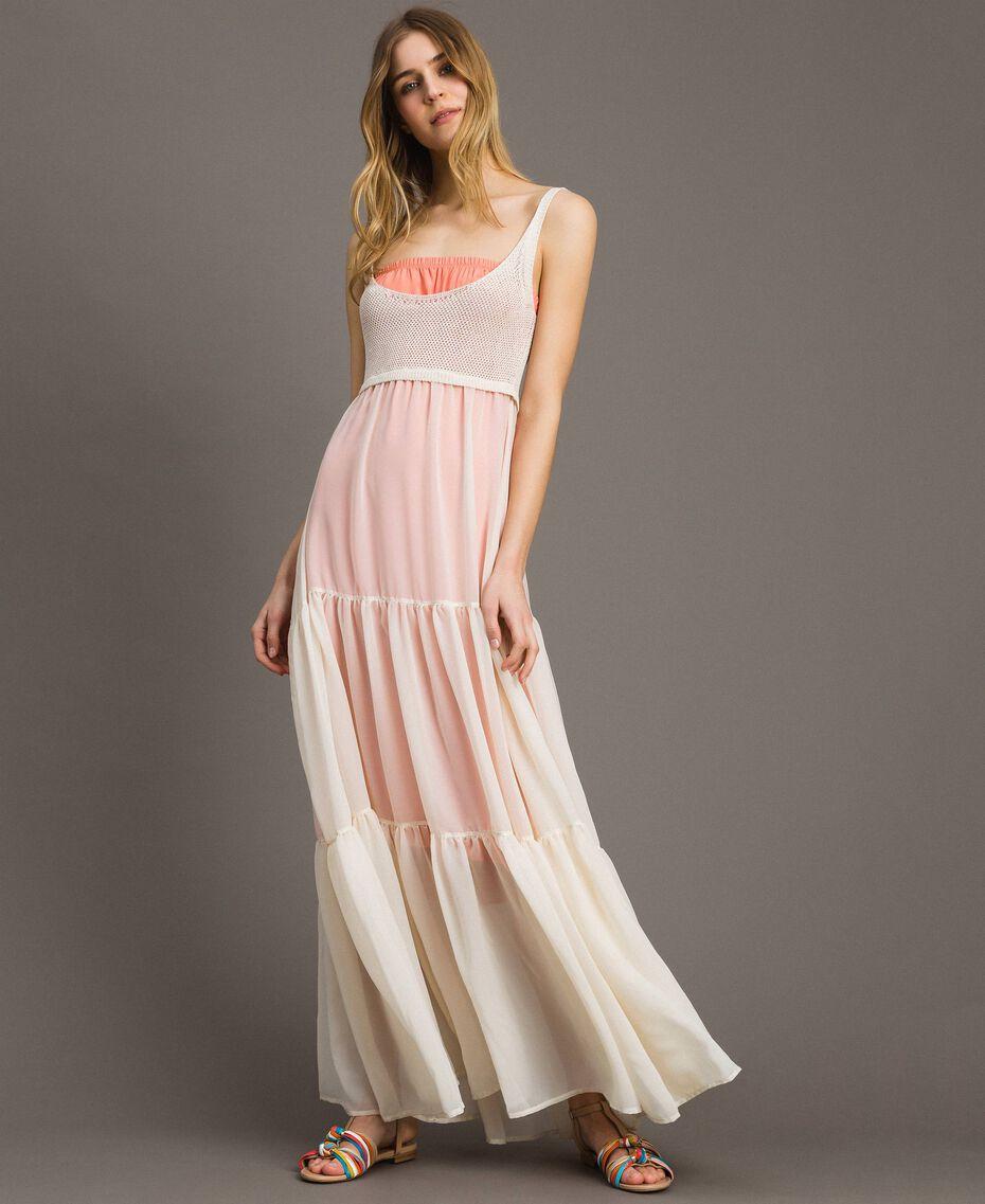 """Vestido largo de punto y chiffon Beige """"Milkway"""" Mujer 191LB2KBB-01"""