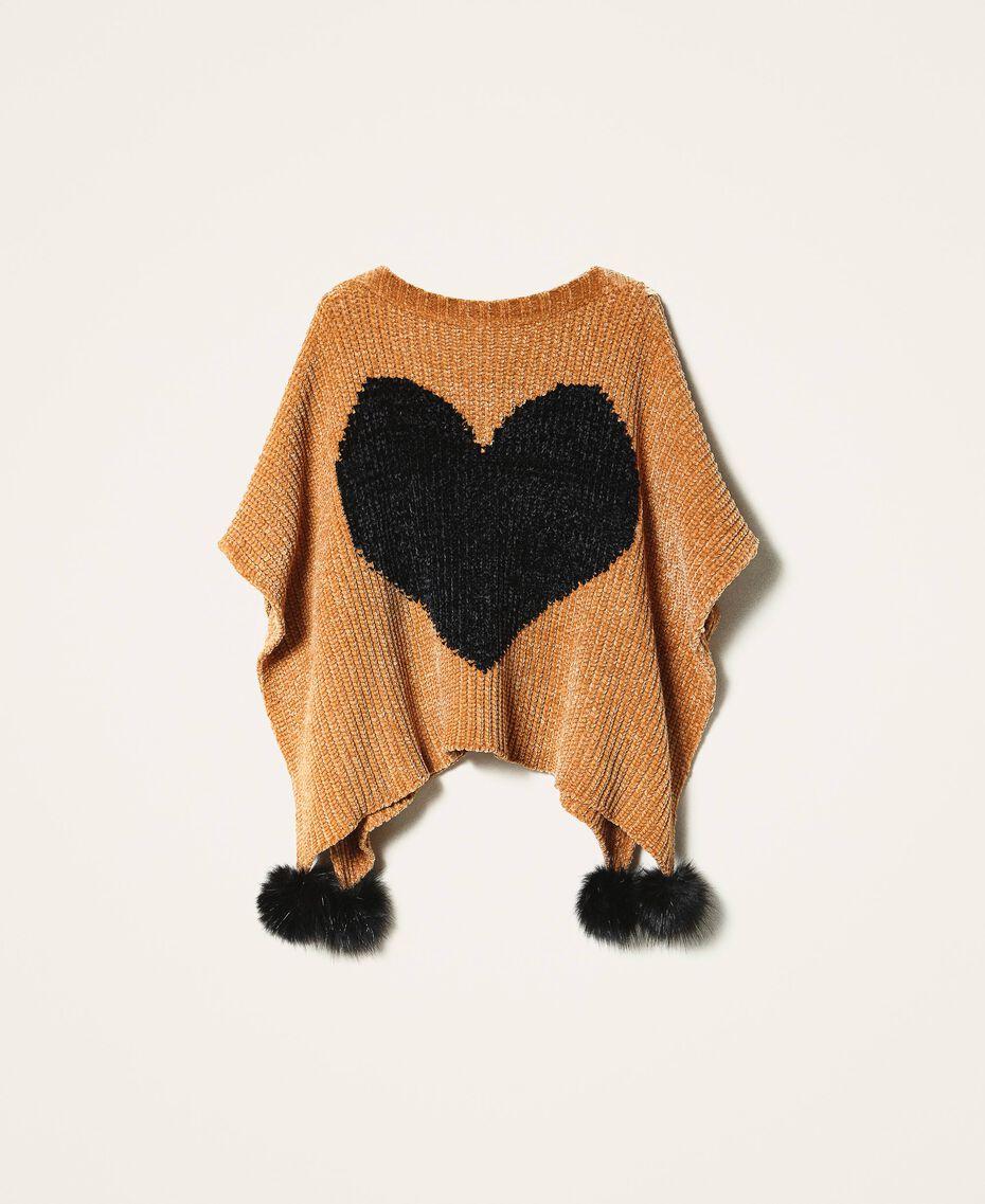 Poncho en chenille avec cœur jacquard Bicolore Marron «Amber Dust» / Noir Femme 202LL4GQQ-0S