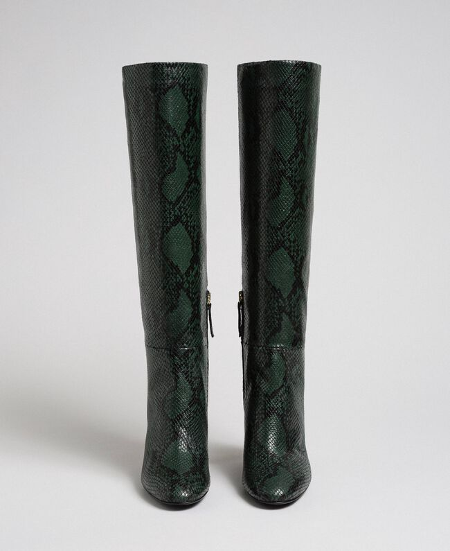 Leather high boots with animal print Dark Green Python Print Woman 192TCP108-05