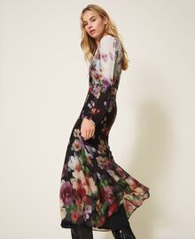 Floral georgette long dress Black / Ivory Fadeout Floral Print Woman 202TT2380-03