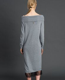 Cashmere blend dress and slip with lace Medium Melange Grey / Black Woman 192TT3091-03