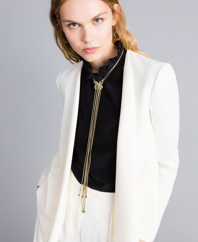Jacke aus Envers-Satin Weiß Schnee Frau TA824G-04
