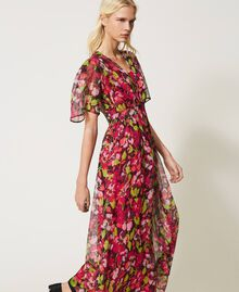 Floral creponne long dress Fuchsia Floral Print Woman 202TP2531-04