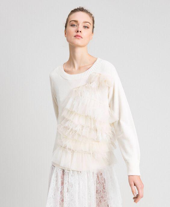 Pullover aus Kaschmirmischung mit Tüll und Federn