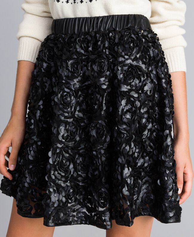 Faux leather skirt with roses Black Woman JA82DP-04
