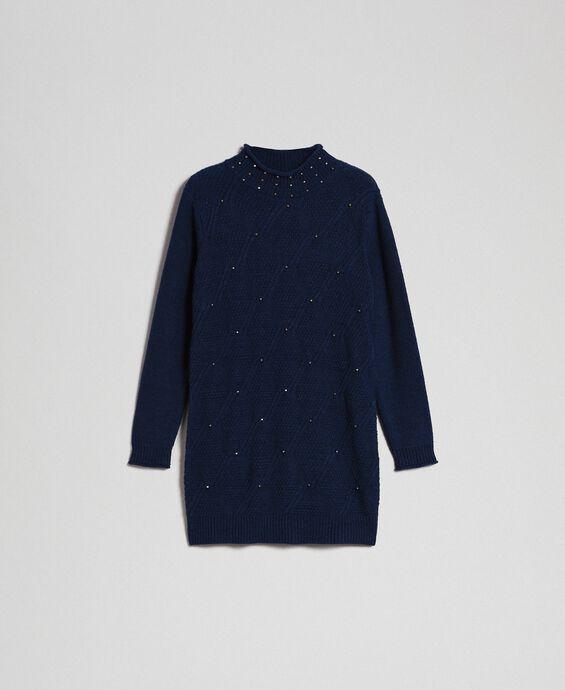 Mini-robe en laine mélangée avec losanges et clous