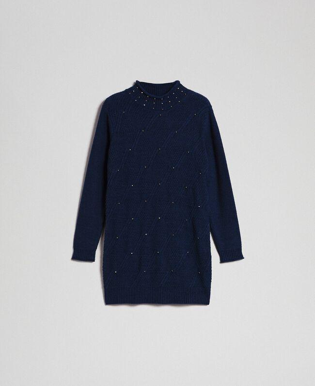 Mini-robe en laine mélangée avec losanges et clous Bleu Nuit Femme 192ST3181-0S