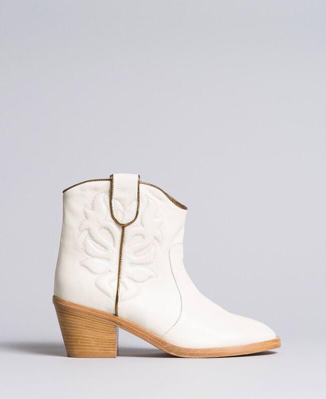 Boots à talons en cuir avec broderie Blanc Neige Femme CA8TGA-03