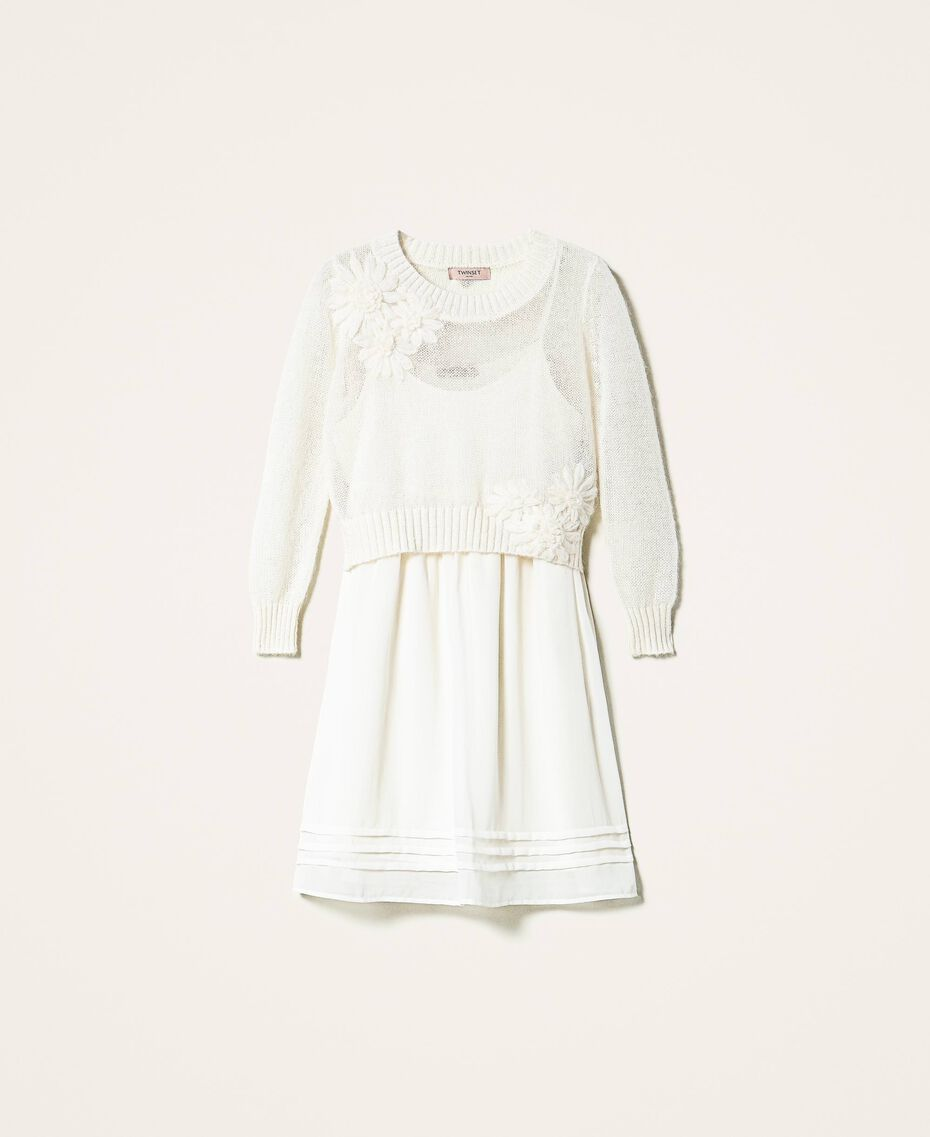Slip dress and mohair jumper Creamy White Woman 202TP3262-0S