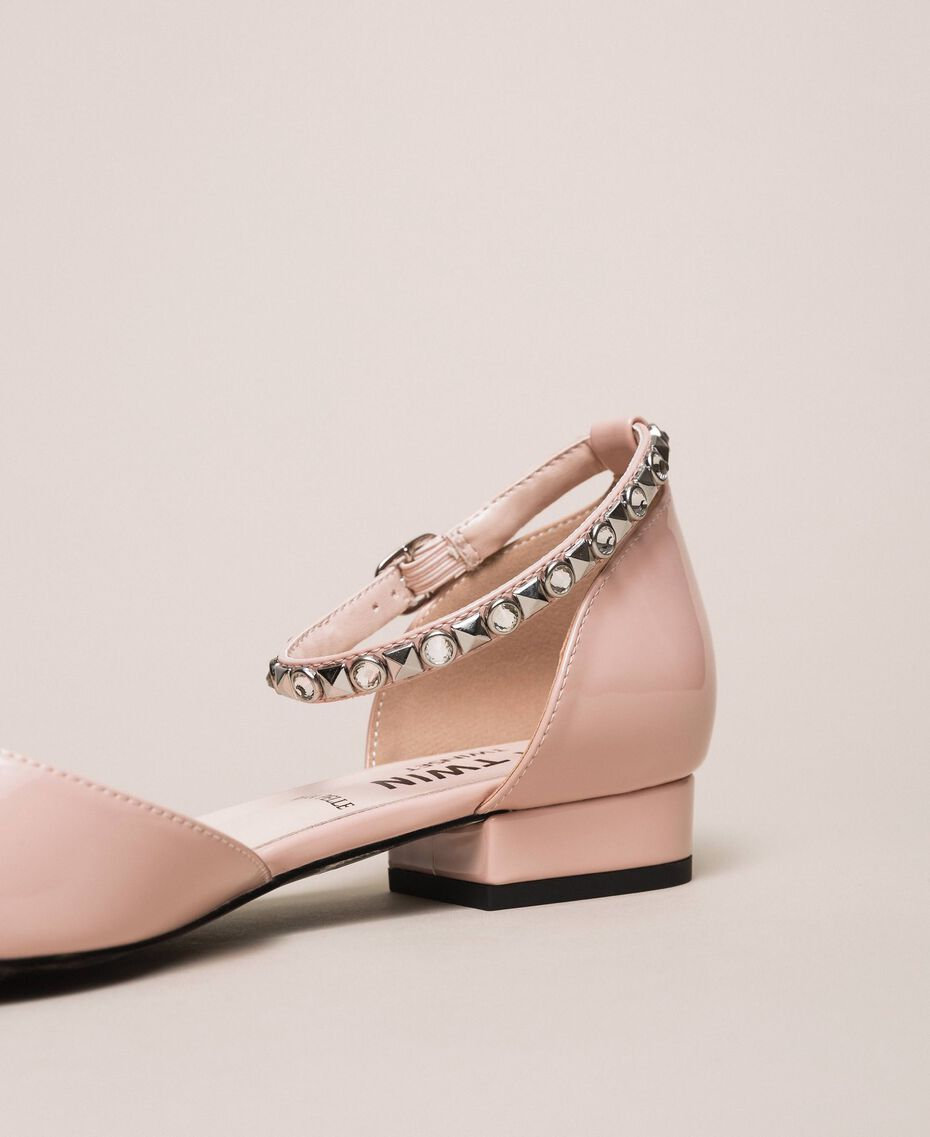 Patent leather ballerina pumps with rhinestones Black Woman 201MCP01G-03