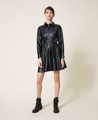 Faux leather dress with belt and flounce