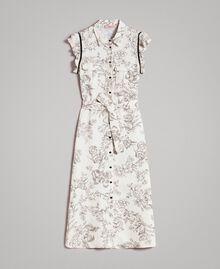 Robe chemise imprimée en lin Imprimé Toile De Jouy Noir Femme 191TT2460-0S