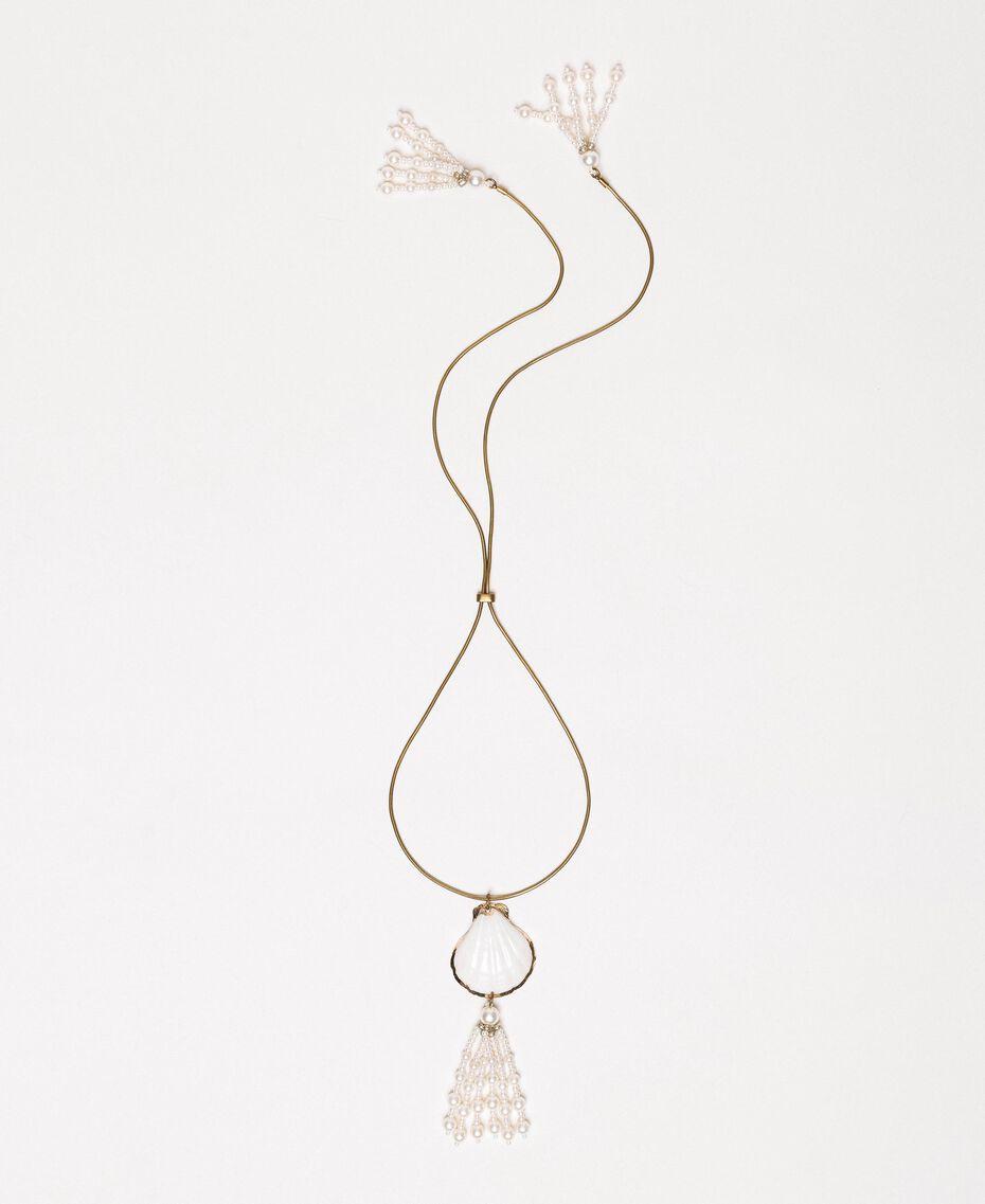Ожерелье регулируемой длины с раковиной и жемчужинами Белый Antique White женщина 201TO5302-01