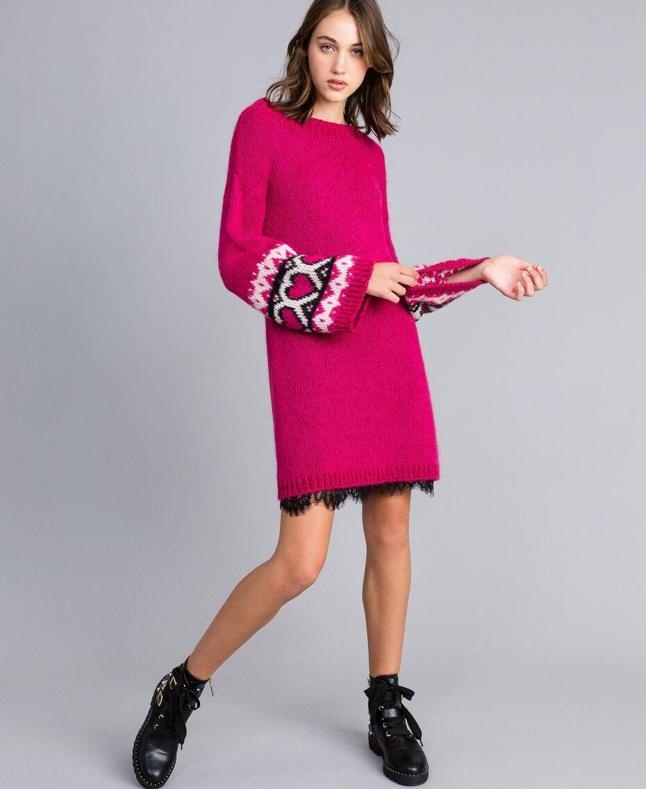 Kleid mit Jacquardherzen Kirschrot-Fuchsia Frau YA8313-02