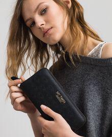Heart print faux leather wallet Black Woman 192MA7015-0S