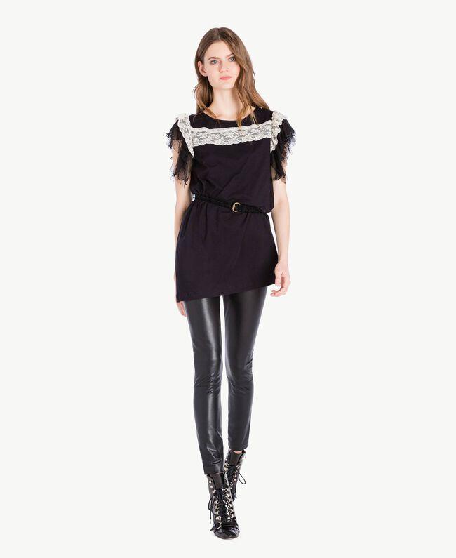 Maxi t-shirt dentelle Noir Femme PS82UD-05
