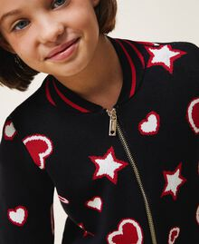 Жаккардовый кардиган со звездами и сердечками Жаккард Звезды Сердца / Черный Pебенок 202GJ3540-04