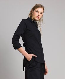 Camicia in popeline con nastri Nero Donna 191MP2216-02